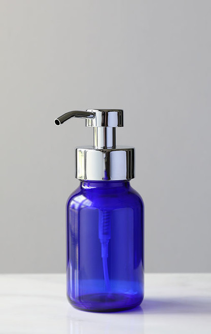 Blue Apothecary Glass Foaming Soap Dispenser with Chrome Pump