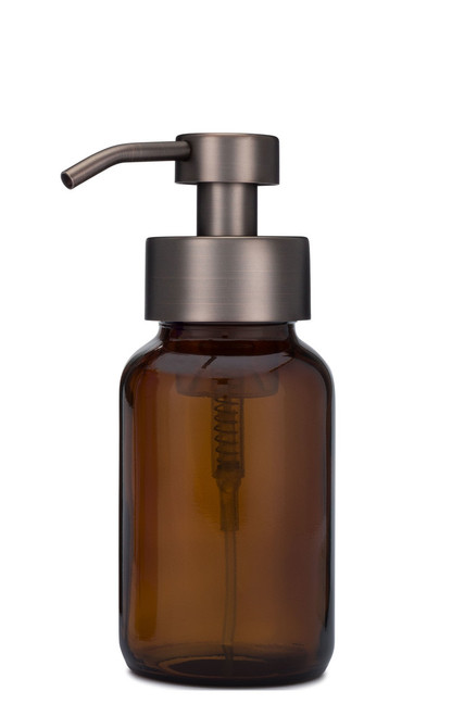 Amber Apothecary Glass Foaming Soap Dispenser with Bronze Pump