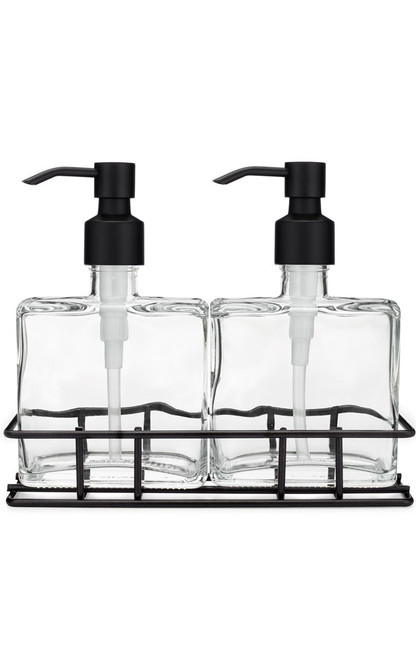 Urban Pair Glass Soap + Lotion Dispenser Set w/ Metal Stand