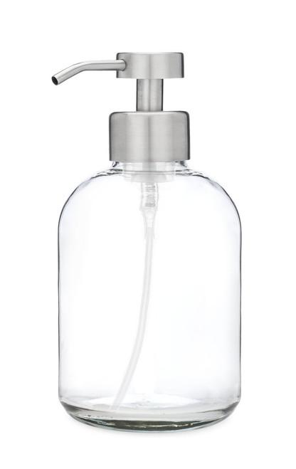 Modern Glass Foaming Soap Dispenser with Stainless Steel Foam Pump
