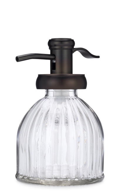 Small Fluted Glass Soap Dispenser with Antique Bronze Pump