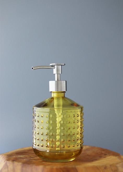 Gold Yellow Hobnail Glass Soap Dispenser