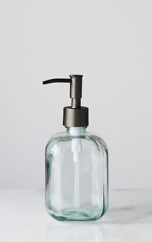 c49e92edc81 Cubo Square Round Recycled Glass Soap Dispenser