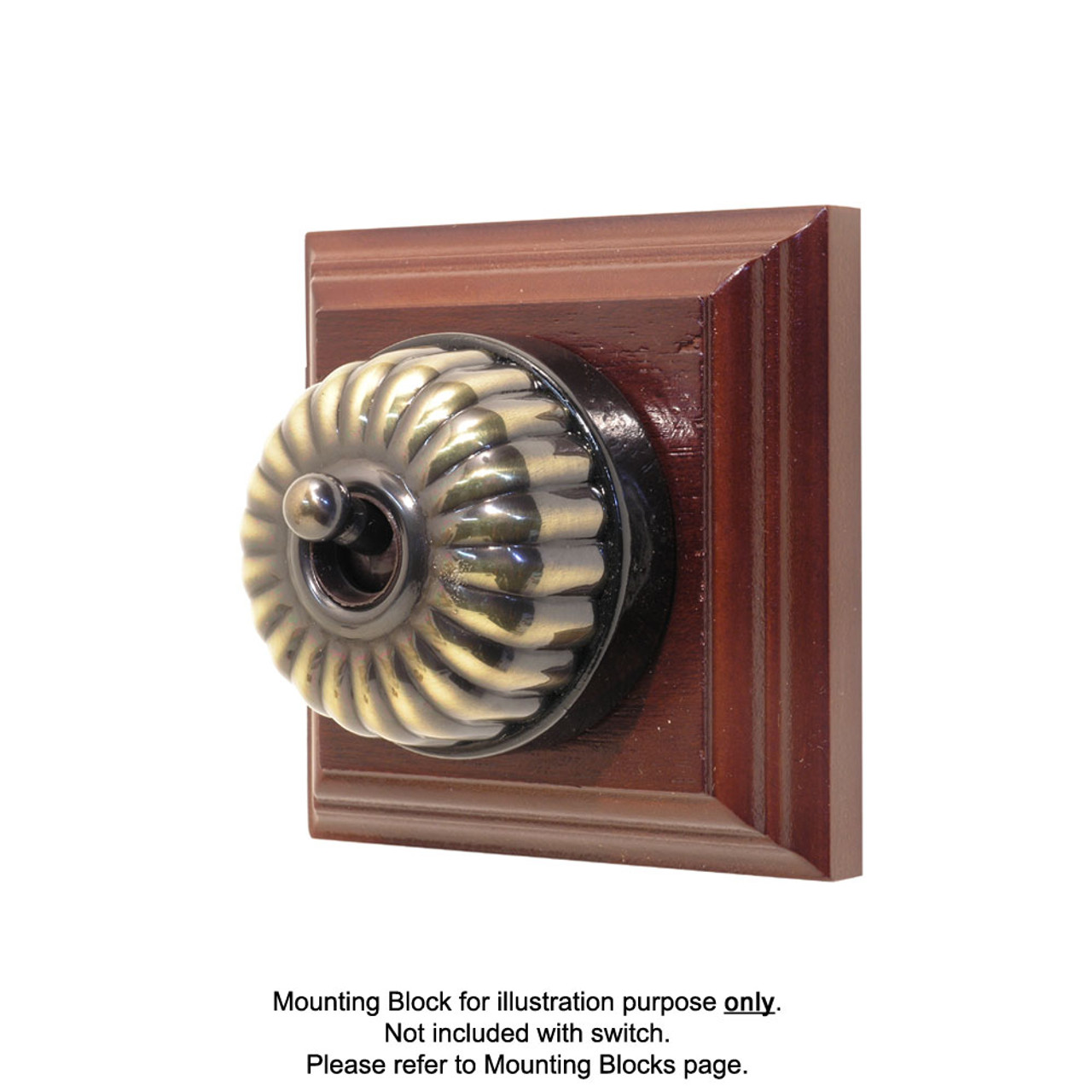 Heritage Clipsal Classic Switch Fluted With Black Porcelain Base Hpm Two Way Light Antique Brass