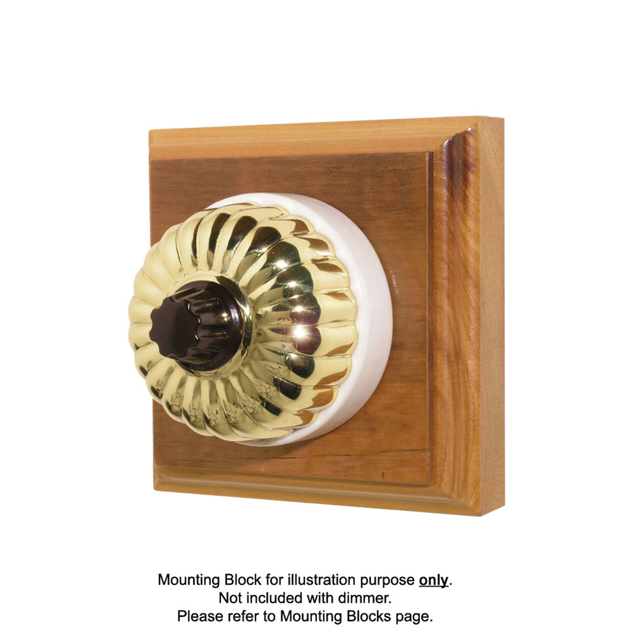 Heritage Clipsal Classic Universal Dimmer Fluted with White Porcelain Base - Brass