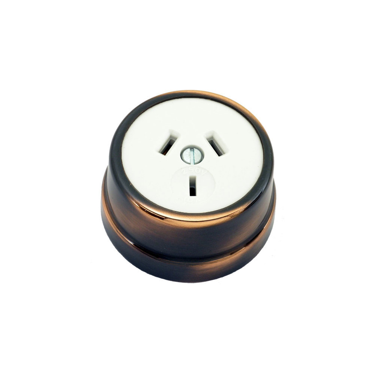 Heritage Clipsal Round Power Point Socket - White Socket with Florentine Bronze Cover