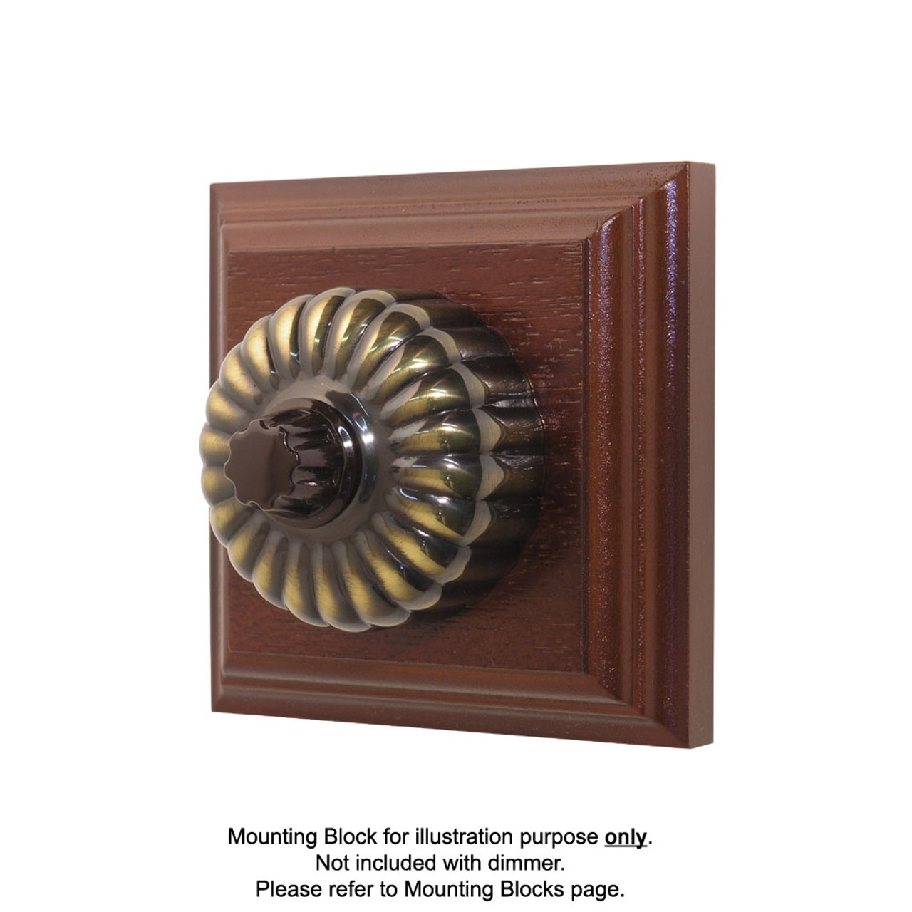 Heritage Clipsal Classic Fluted Universal Dimmer Fluted - Antique Brass
