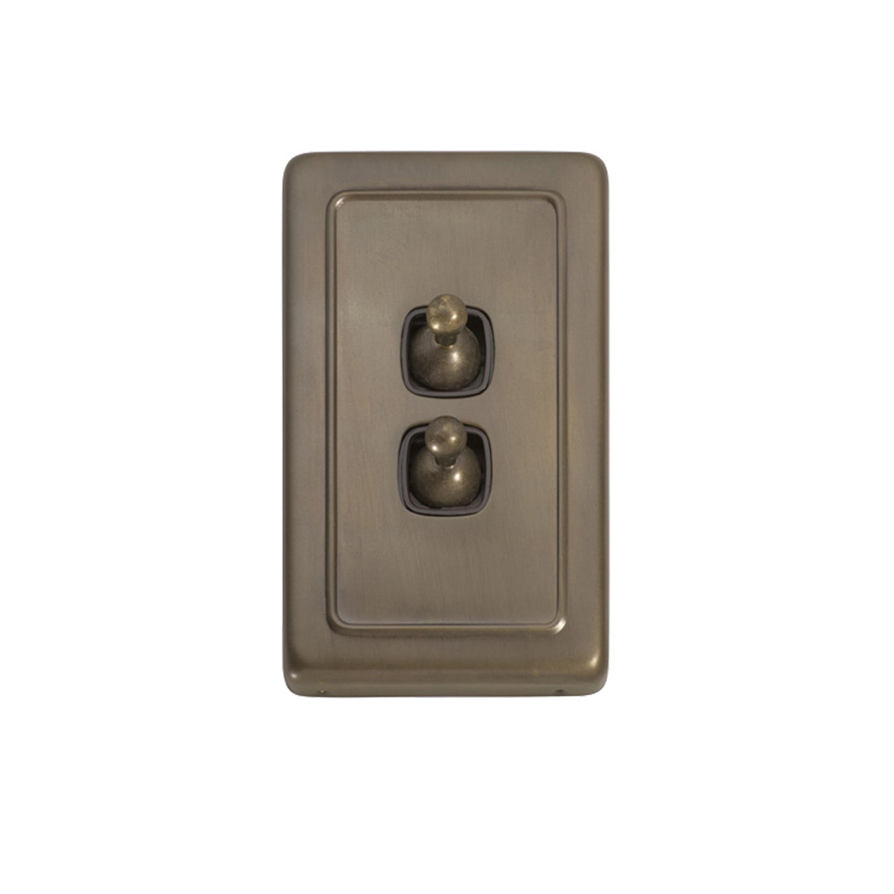 2 Gang Flat Plate Heritage Light Switches - Antique Brass Toggle 5893