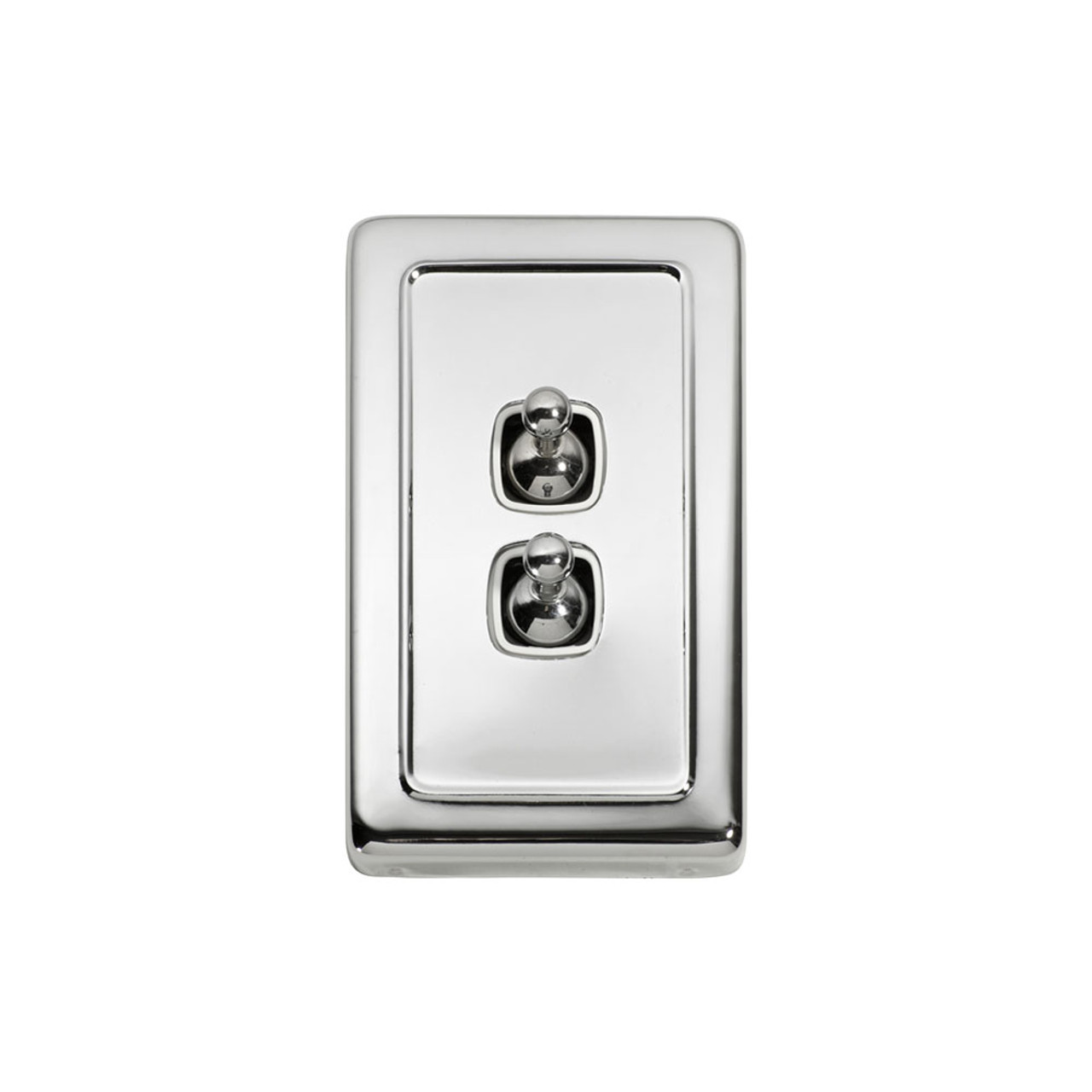 2 Gang Flat Plate Heritage Light Switches - Chrome Toggle