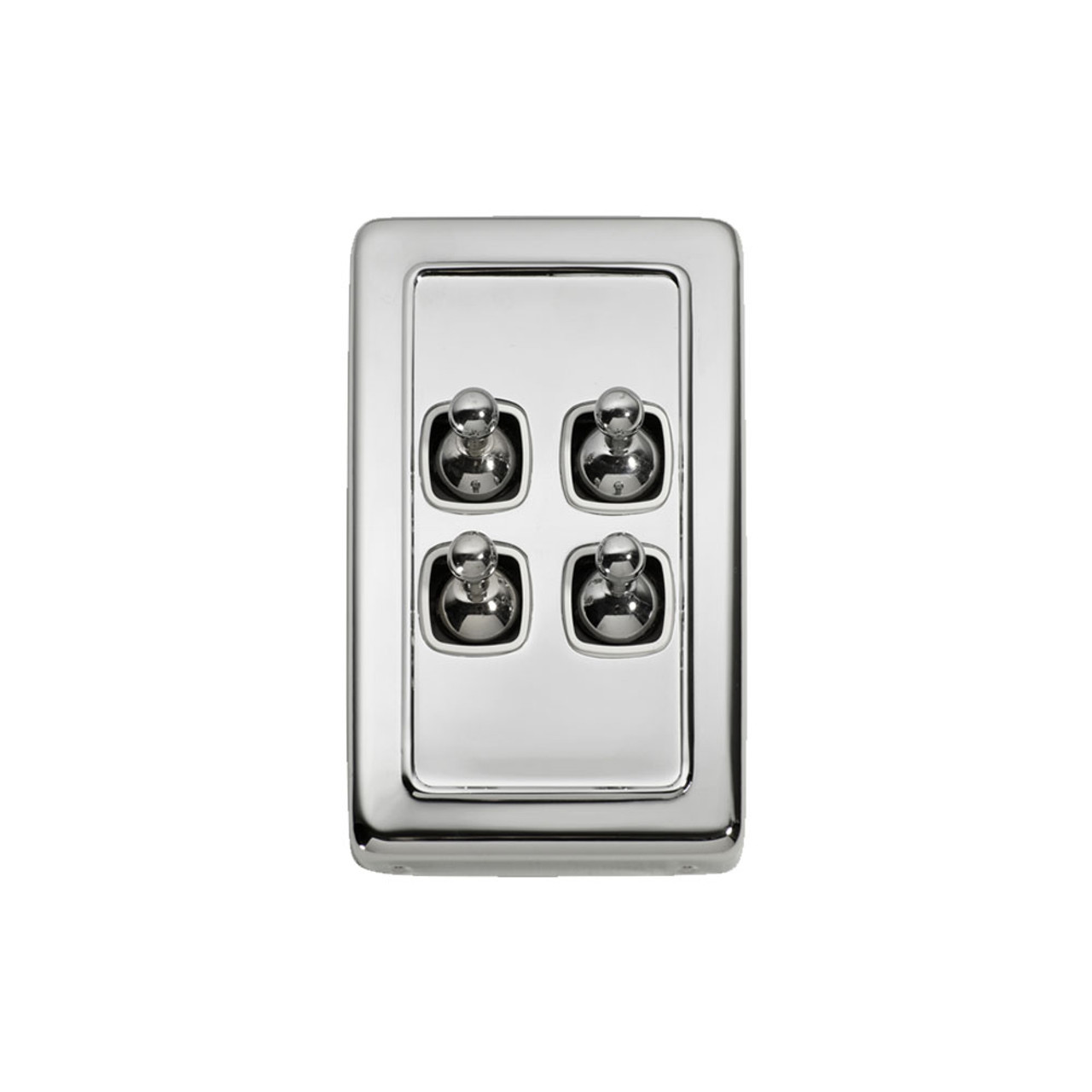 4 Gang Flat Plate Heritage Light Switches - Chrome Toggle