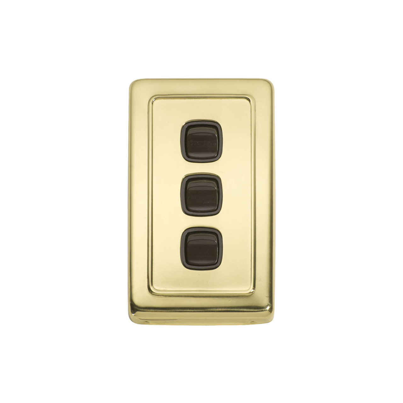 Classic 3 Gang Flat Plate Heritage Light Switch - Polished Brass Plate with Brown Rocker