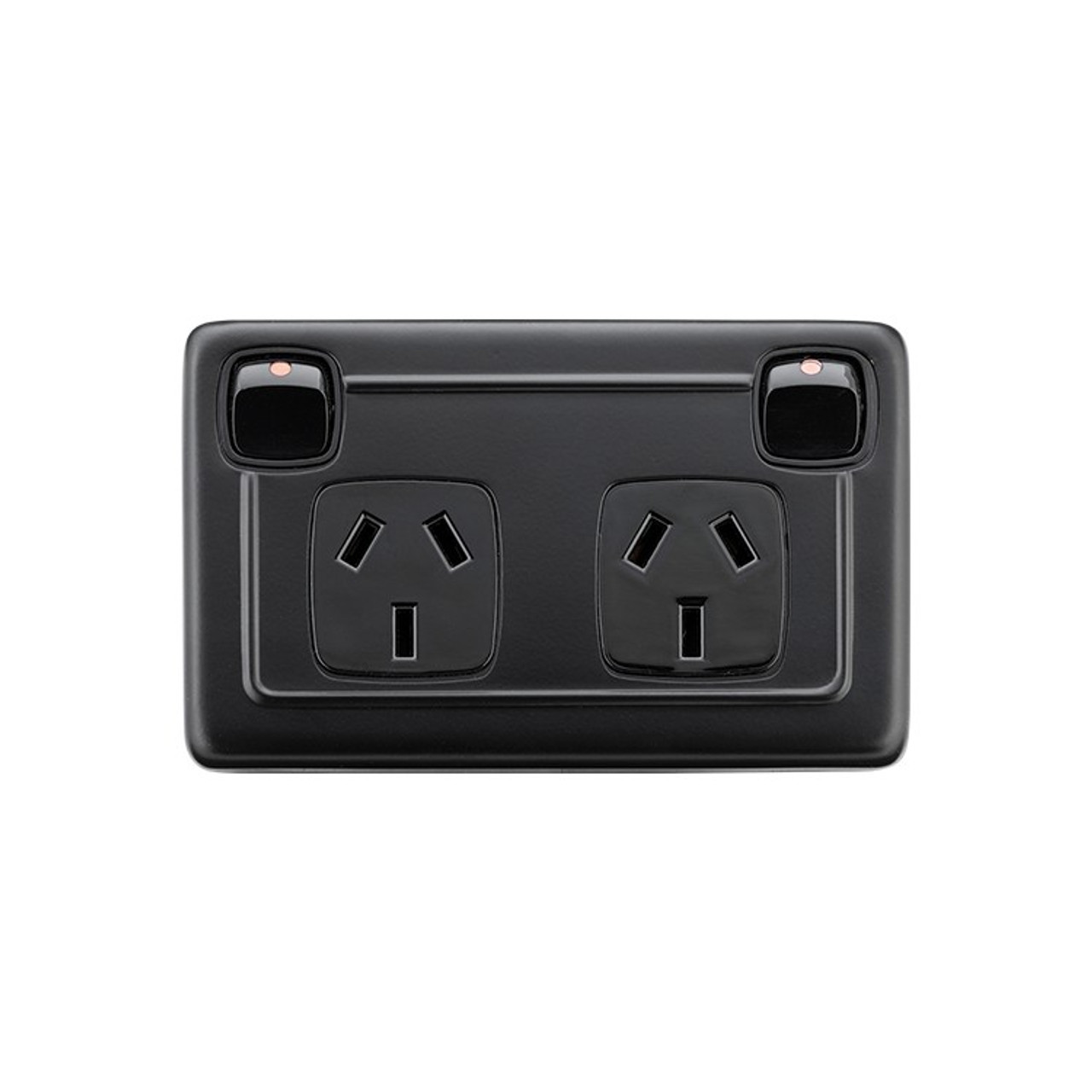 Double GPO Flat Plate Heritage Power Point - Matte Black with Black Inserts