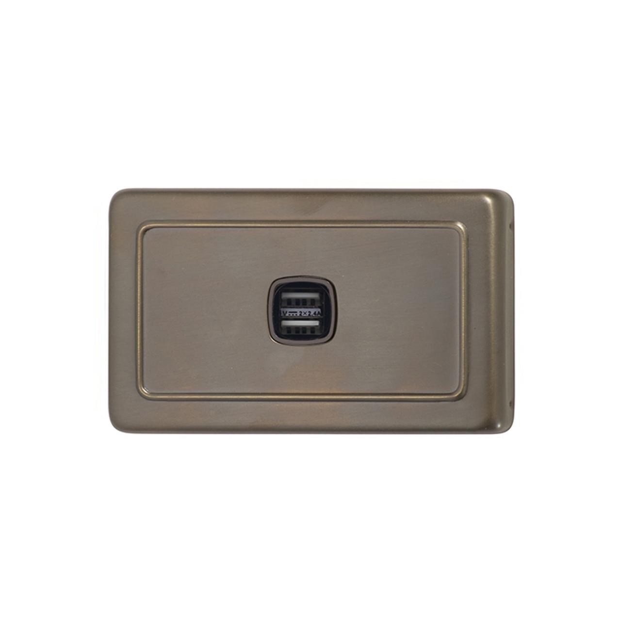 Antique Brass USB Outlet Horizontal Aspect
