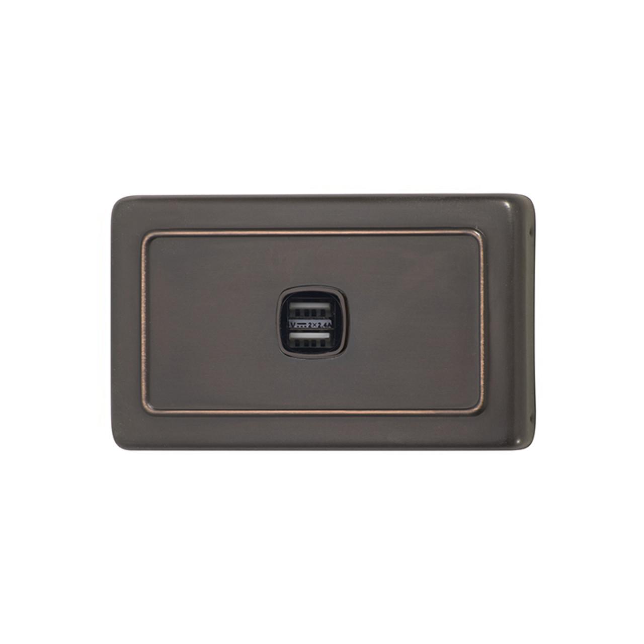 Antique Copper USB Outlet Horizontal Aspect
