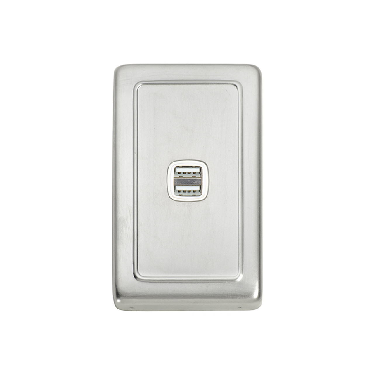 Satin Chrome USB Outlet Vertical Aspect