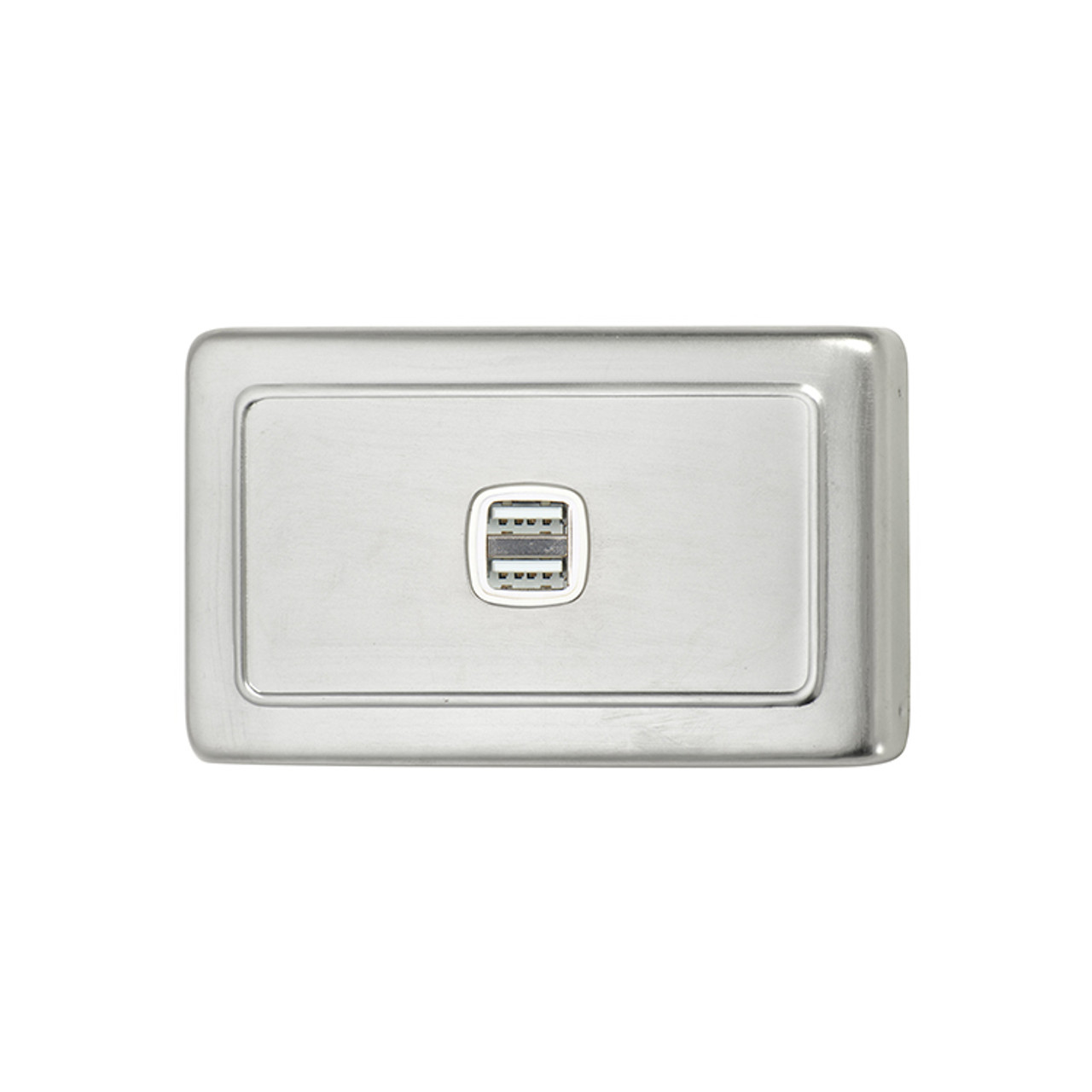 Satin Chrome USB Outlet Horizontal Aspect