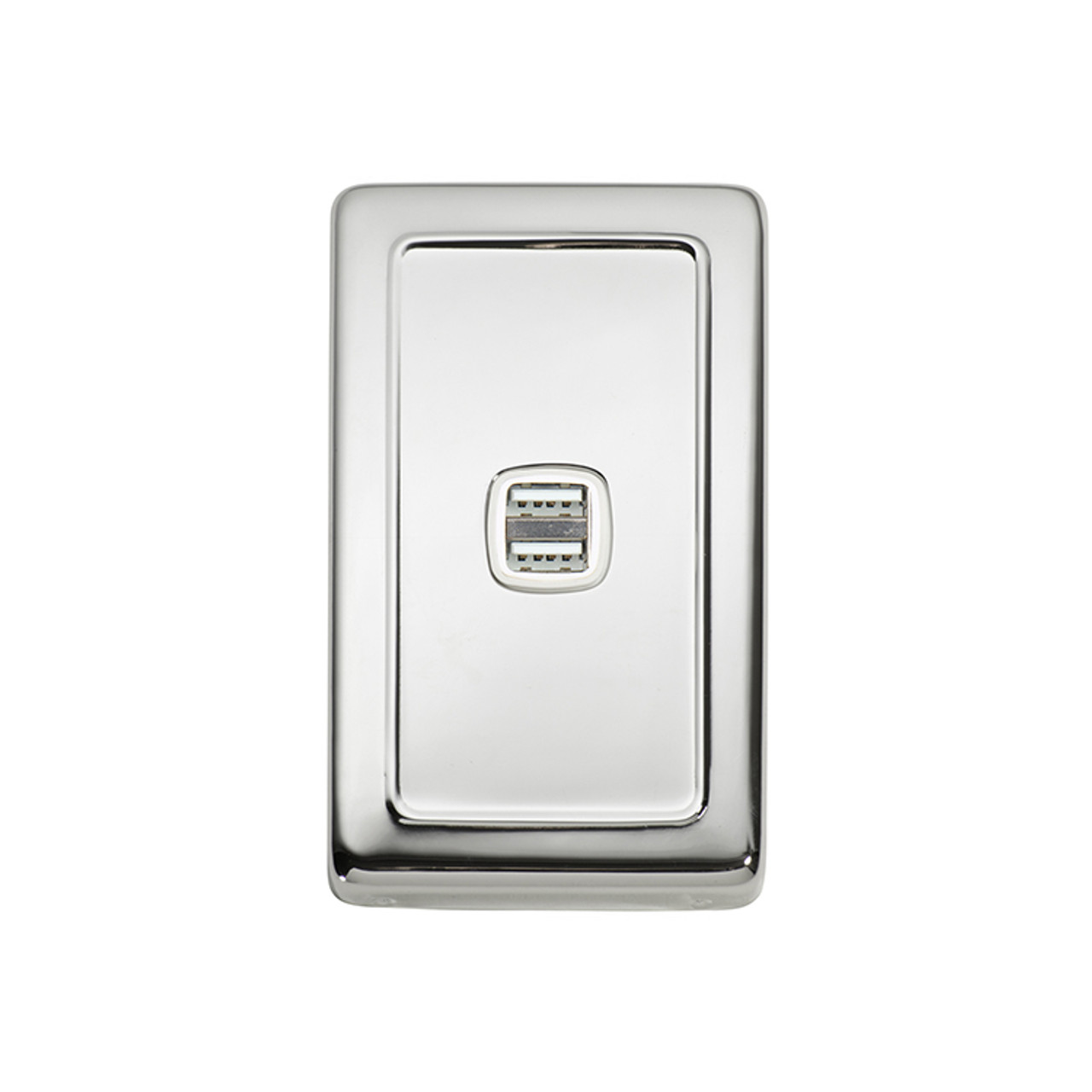 Polished Chrome USB Outlet Vertical Aspect
