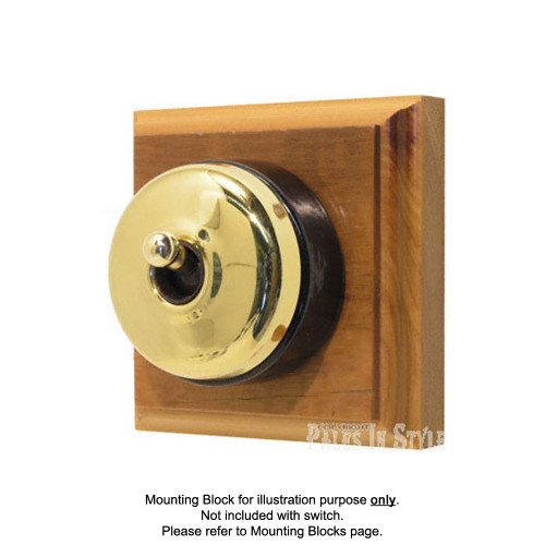 Genuine Clipsal Classic Switch With Black Porcelain Base - Brass