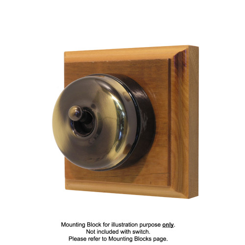 Genuine Clipsal Classic Switch With Black Porcelain Base - Antique Brass