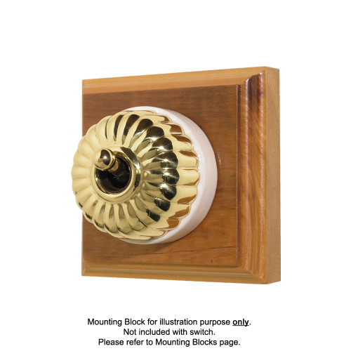 Heritage Clipsal Classic Switch Fluted with White Porcelain Base - Brass