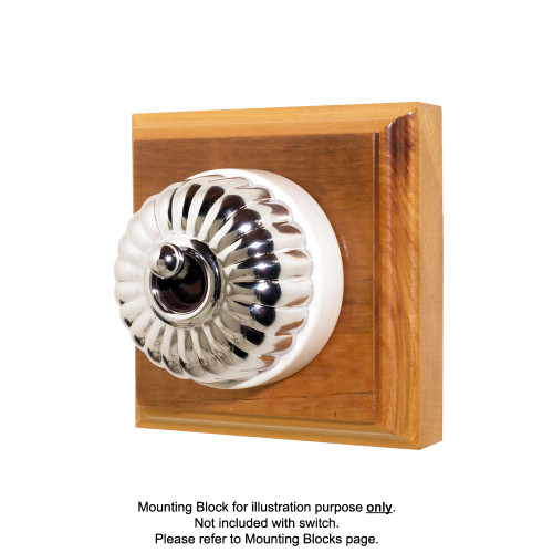 Heritage Clipsal Classic Switch Fluted with White Porcelain Base - Chrome