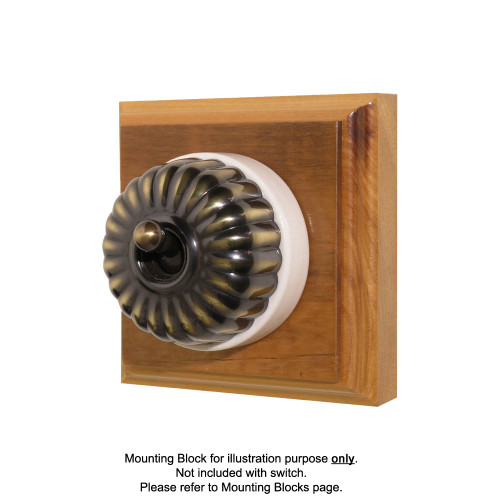 Heritage Clipsal Classic Switch Fluted with White Porcelain Base - Antique Brass