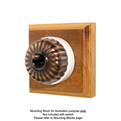 Heritage Clipsal Classic Switch Fluted with White Porcelain Base - Florentine Bronze