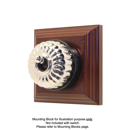Heritage Clipsal Classic Switch Fluted with Black Porcelain Base - Chrome