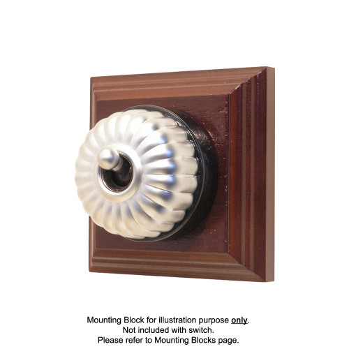 Heritage Clipsal Classic Switch Fluted with Black Porcelain Base - Satin Chrome