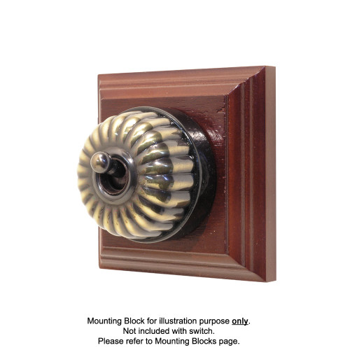 Heritage Clipsal Classic Switch Fluted with Black Porcelain Base - Antique Brass