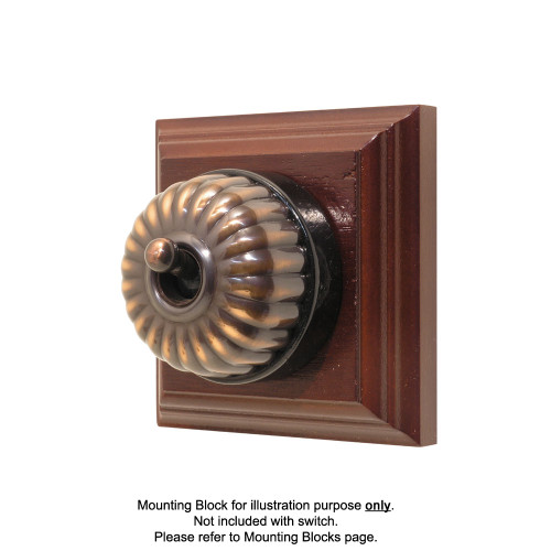 Heritage Clipsal Classic Switch Fluted with Black Porcelain Base - Florentine Bronze