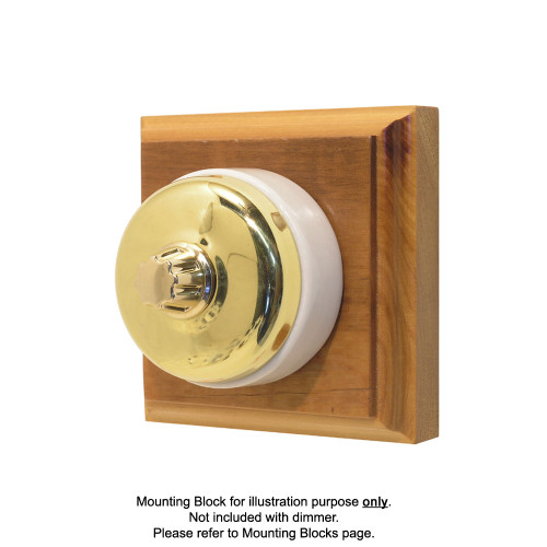 Classic Clipsal Three Speed Fan Controller With White Ceramic Base - Polished Brass