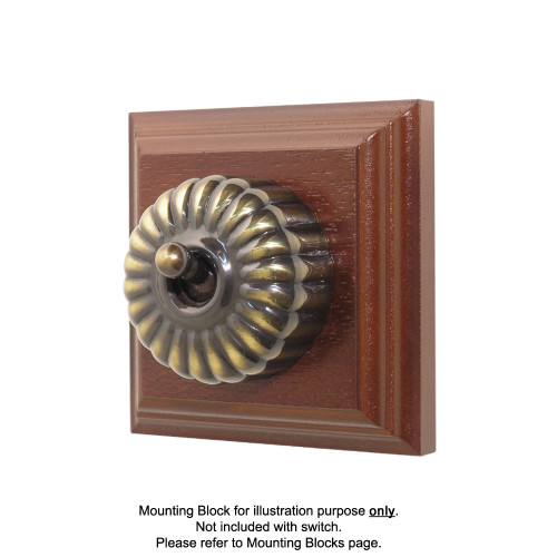 Heritage Clipsal Classic Switch Fluted - Antique Brass