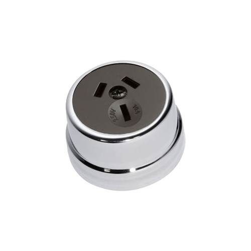 Heritage Clipsal Round Power Point Socket - Brown Socket with Chrome Cover