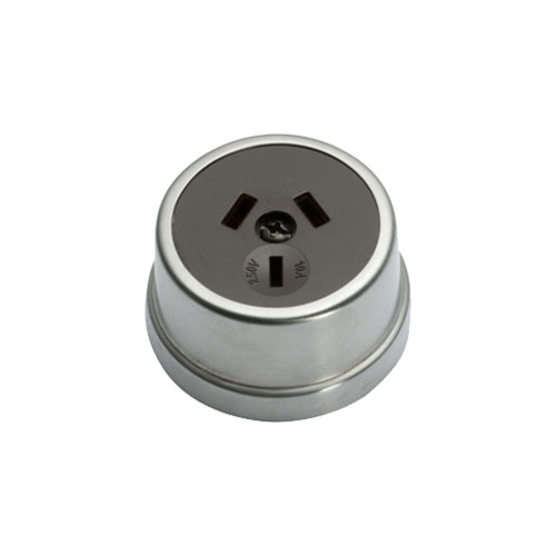 Heritage Clipsal Round Power Point Socket - Brown Socket with Satin Chrome Cover