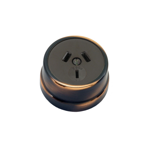 Heritage Clipsal Round Power Point Socket - Brown Socket with Florentine Bronze Cover