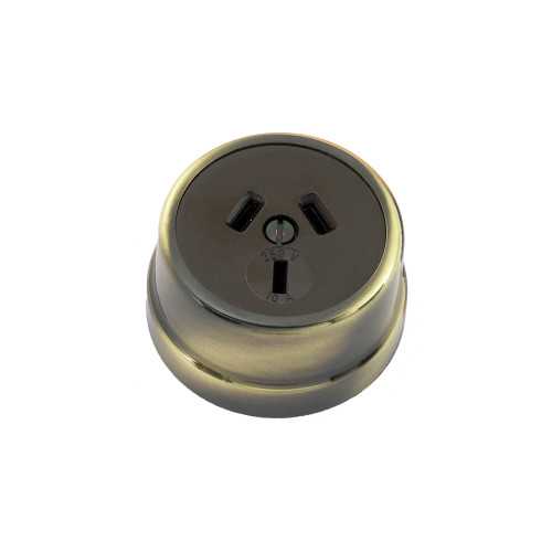 Heritage Clipsal Round Power Point Socket - Brown Socket with Antique Brass Cover