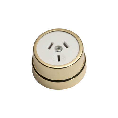 Heritage Clipsal Round Power Point Socket - White Socket with Brass Cover
