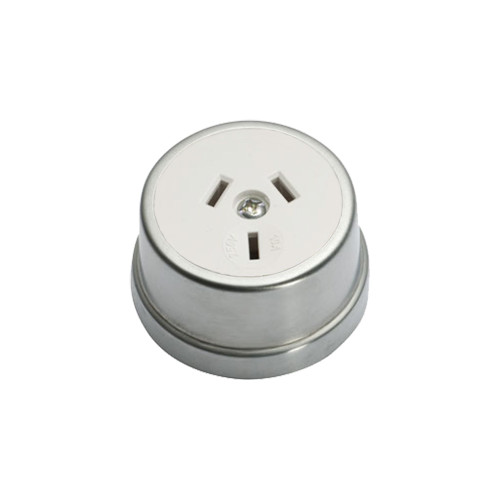 Heritage Clipsal Round Power Point Socket - White Socket with Satin Chrome Cover