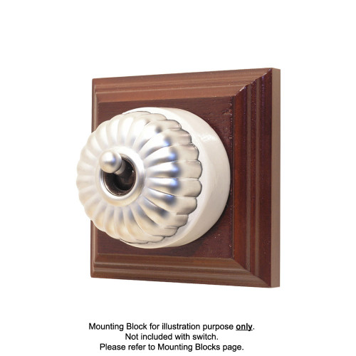 Heritage Clipsal Classic Switch Fluted with White Porcelain Base - Satin Chrome