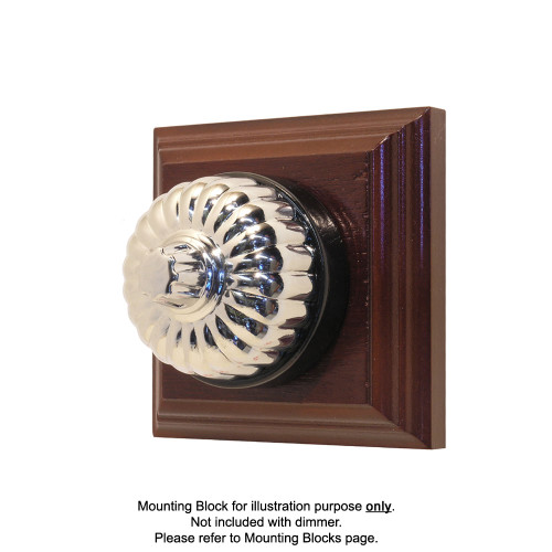 Classic Clipsal Fluted Three Speed Fan Controller With Black Porcelain Base - Chrome