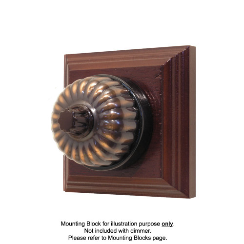 Heritage Clipsal Classic Universal Dimmer Fluted with Black Porcelain Base - Florentine Bronze