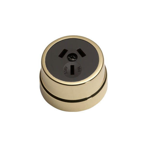 Heritage Clipsal Round Power Point Socket - Brown Socket with Brass Cover
