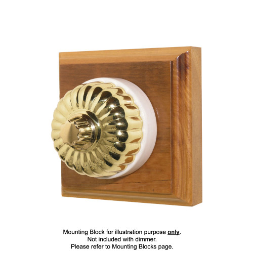 Classic Clipsal Fluted Three Speed Fan Controller With White Porcelain Base - Polished Brass