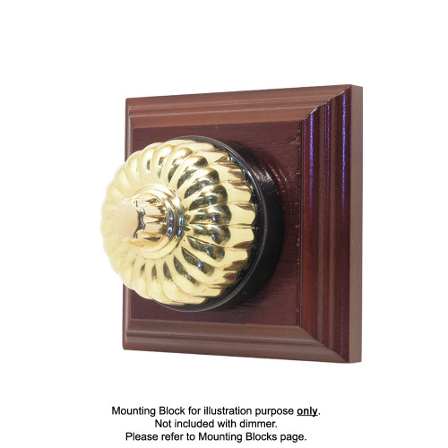 Classic Clipsal Fluted Three Speed Fan Controller With Black Porcelain Base - Polished Brass