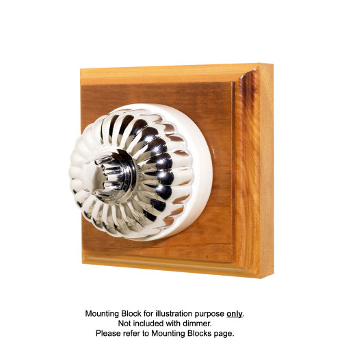 Classic Clipsal Fluted Three Speed Fan Controller With White Porcelain Base - Chrome