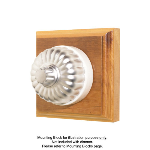 Classic Clipsal Fluted Three Speed Fan Controller With White Porcelain Base - Satin Chrome