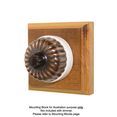 Heritage Clipsal Classic Universal Dimmer Fluted with White Porcelain Base - Florentine Bronze