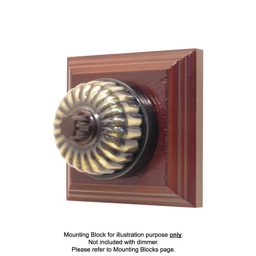 Heritage Clipsal Classic Universal Dimmer Fluted with Black Porcelain Base - Antique Brass