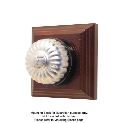 Heritage Clipsal Classic Universal Dimmer Fluted with Black Porcelain Base - Satin Chrome